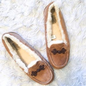 UGG Brown Fuzzy Moccasins Slip On Slippers